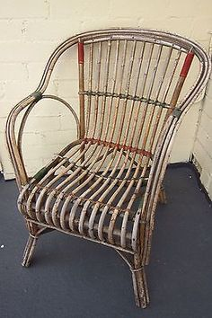 Attractive Vintage Antique Split Cane Chair   Red And Green Bindings