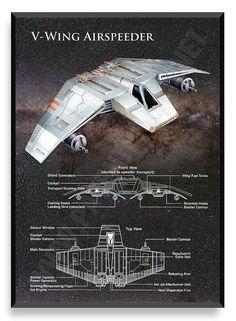 Star Wars V-Wing Poster Star Wars Ship Star Wars by PatentPrintsPosters http://www.hoffadesign.com/