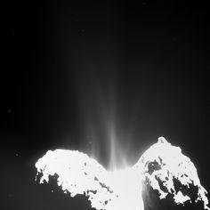 Rosetta OSIRIS wide-angle camera image of Comet 67P/Churyumov-Gerasimenko on 10 September 2014, showing jets of cometary activity along almost the entire body of the comet. Credits: ESA/Rosetta/MPS for OSIRIS Team MPS/UPD/LAM/IAA/SSO/ INTA/UPM/DASP/IDA