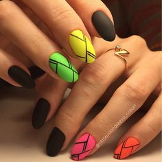 Neon manicure LOVE!! #summermani #blackstripes #neon  neon nails | Art Simple Nail
