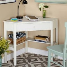 Target Marketing Systems Corner Writing Desk Antique White - Diy Bedroom Ideas For Small Rooms Desks For Small Spaces, Small Rooms, Small Apartments, Bedroom Small, Trendy Bedroom, Desk In Small Space, Dream Bedroom, Bedroom Storage Ideas For Small Spaces, Girls Bedroom