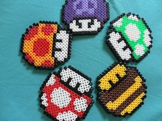 Nintendo Super Mario Bros Mushrooms perler beads