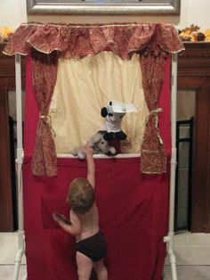 Tension rod Doorway Puppet Theater, or make a free standing version for outside! Pvc Pipe Crafts, Pvc Pipe Projects, Diy Dollhouse, Dollhouse Furniture, Emergency Preparedness Kit, Church Crafts, Paper Furniture, Craft Activities For Kids, Craft Ideas