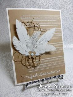 White Embossed Four Feathers