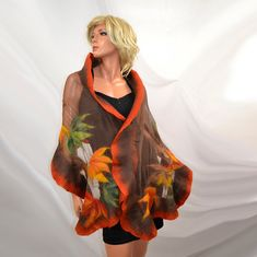 Nuno felted Large Shawl, Brown, Autumn colors, Hand made scarves, scarf, for evening dress, wedding, party.