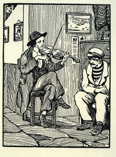 The Fiddler, Jack B. Yeats Celtic Music, Celtic Art, Jack B, Short Stories For Kids, Erin Go Bragh, Castles In Ireland, Irish Culture, Art Folder, Ink Pen Drawings