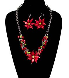 Noel #Necklace and #Earrings #DIY #craft #holiday #jewelry