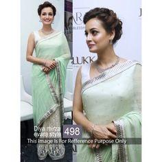 02f3ac0701 Thankar Light Green & Off White Multy Work Georgette & Net Half And Half Bollywood  Designer Saree Bollywood Sarees