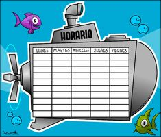 horario_submarino_color - Actiludis Classroom Organization, Classroom Decor, Teaching Resources, Ideas Para, Lunch Box, School, Crafts, Clash Royale, Minions
