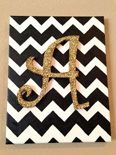 DIY nursery monogram letters. Chevron and glitter initial canvas art. Get your wooden letters at www.funkyletterboutique.com