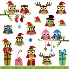 Christmas Owls Vectors and Clipart by PinkPueblo