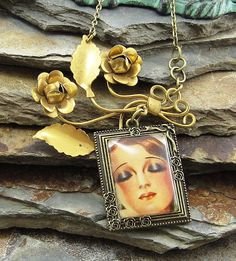 Hollywood Regency Vintage Pin Pendant Necklace , retro floral necklace, boho chic jewelry, upcycled jewelry, vintage pin
