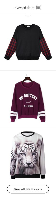 """sweatshirt (iii)"" by zara-mch ❤ liked on Polyvore featuring tops, hoodies, sweatshirts, sweaters, shirts, black, plaid shirts, tartan shirt, sleeve top and tartan top"