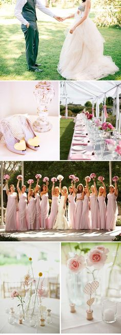 Pink wedding  - love the 2 bottom ideas