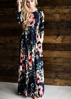 Classic 3/4 Sleeve Floral Print Navy Maxi Dress
