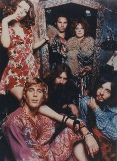 Jim Morrison, Pamela Courson and friends.