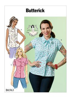 Butterick 6563 Misses' Top sewing pattern Butterick Sewing Patterns, Vintage Sewing Patterns, Barbie Patterns, Sewing Ideas, Sewing Projects, Patron Butterick, Retro Mode, Vintage Embroidery, Embroidery Ideas