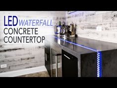 LED waterfall concrete tabletop