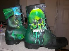 Painted combat boots - Dali Style!