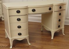 Painted desk by Chrissie's Collection. General Finishes Linen