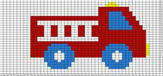 Knitting Patterns Boy Tricksy Knitter Charts: FIre truck by easyknit Baby Knitting Patterns, Knitting Charts, Crochet Patterns, Crochet Ideas, Beaded Cross Stitch, Cross Stitch Baby, Cross Stitch Embroidery, Cross Stitch Designs, Cross Stitch Patterns