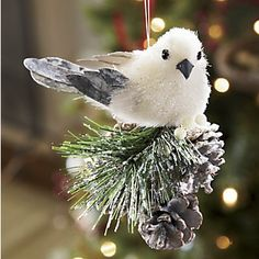 Bird Ornament from Through the Country Door® these are so cute a tree of white and silver blue with this would be so pretty