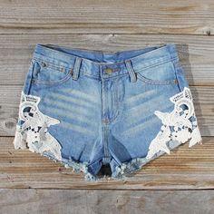 Denim & Lace Shorts, Women's Sweet Bohemian Clothing ❤ liked on Polyvore
