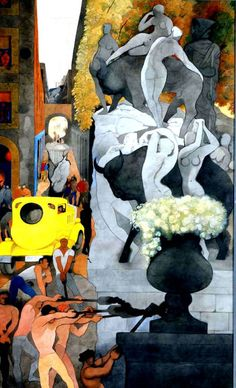'The Yellow Cement Mixer', 1962 Watercolour and pencil on paper, by Edward Burra (British Great Paintings, Watercolor Paintings, Watercolour, Modern Artists, Great Artists, Cement Mixers, Wood Elf, Abstract Painters, Mellow Yellow