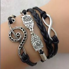 Music owl black infinity bracelet bundle 2/12 Infinity bracelet  Color is a little different on bracelet than in the picture   Double with another bracelet 2/$12. Jewelry Bracelets