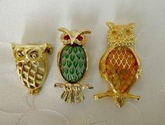 1970's Owl Brooch Pin LOT Enamel Carved Plastic Jade Pretty Owls Birds Pins Brooches Fun Vintage Bird Animal Figural Kitschy Boho Jewelry