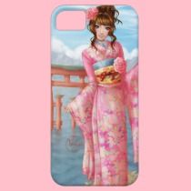 Japanese pink kimono iPhone 5 cover by Rosalys on Zazzle