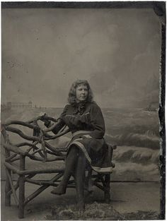"On the ""beach"" c.1880s tintype photograph. #Victorian #woman #portrait"