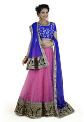 Magenta Lehenga. Rich in Net fabric and Art Satin lining. Intricately embroidered with Zari, Stone, Resham, Lace and Patch Border Work. Available with Royal Blue Art Silk unstitched Choli and Royal Blue Net Dupatta. The semi-stitched lehenga waist and hip are customizable from 28 to 34 and 32 to 38 inches respectively. The length of the lehenga is 42 inches. Accessories shown is for presentation purpose. (Slight variation in color is possible.)