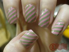 Pink and green stripes.