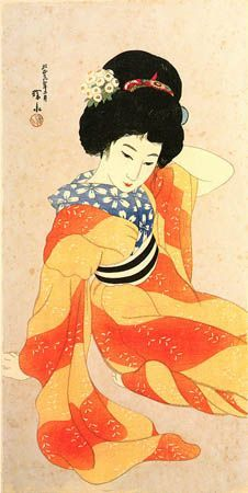 In Spring, (orange striped kimono) by Ito Shinsui, 1917 (published by Watanabe Shozaburo) Art Occidental, Art Asiatique, Art Japonais, Japanese Painting, Japanese Prints, Japan Art, Print Artist, Japanese Culture, Woodblock Print