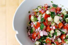 ISRAELI SALAD:  The salad is just 3 tomatoes, I vidalia onion, 2 peppers, 1 cucumber.  All finely chopped.  Squeeze the juice from one lemon, add a little  olive oil, then some salt and pepper.  My little one loves this recipe!!!  It's nice to serve with humus and pita bread.