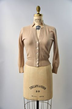 1950's tan Dalton cashmere cardigan small | Etsy Vintage Instagram, Cashmere Cardigan, Vintage Tops, Button Up, 1950s, Ready To Wear, Long Sleeve, Sleeves, Model