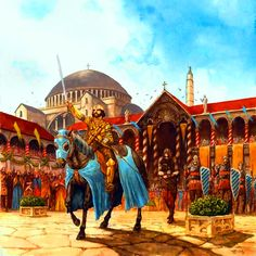 Byzantine Roman triumph with captive barbarian leader Medieval World, Medieval Fantasy, Military Art, Military History, Byzantine Army, Byzantine Architecture, Roman Emperor, Historical Pictures, Middle Ages
