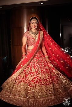 Arushi & Dhruv   Red Bridal Lehenga - Grand Wedding at Leela Gurgaon   Think Shaadi