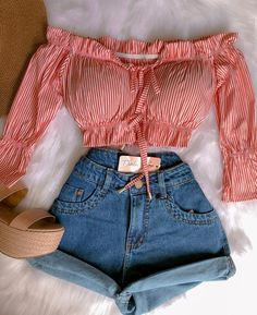Trendy Summer Outfits, Cute Casual Outfits, Girly Outfits, Simple Outfits, Stylish Outfits, Girls Fashion Clothes, Fashion Outfits, Womens Fashion, Thrift Store Outfits