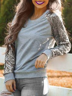 Trendy Jewel Neck Long Sleeve Sequined Sweatshirt For Women