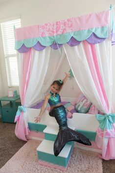 Mermaid Bed Mermaid Canopy Bed Girls Bed Toddler Twin or Big Girl Bedrooms, Little Girl Rooms, Girls Bedroom, Room Decor Bedroom, Bedroom Ideas, Mermaid Bedding, Mermaid Bedroom, Princess Room, Pink Princess