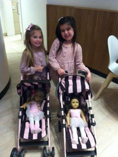 Sophia Grace & Rosie with their namesake American Girl dolls.