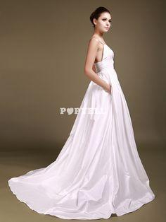 #robe #mariée Robe de Soirée Mariage cache-coeur avec Corsage Perlé et Poches