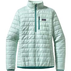 Patagonia Women's Nano Puff Pullover ($169) ❤ liked on Polyvore featuring arctic mint
