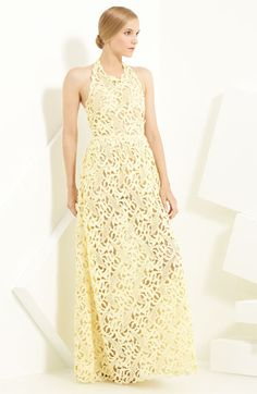 Valentino Leaf Lace Halter Gown