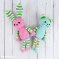 Stripy rabbit and stripy cat - Free crochet patterns