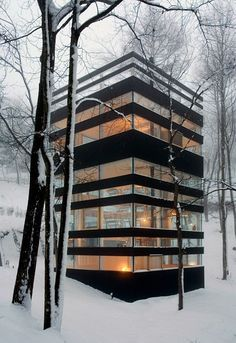 Forest #house. Love the graphic, modern #architecture contrasted with organic shapes of the forest.