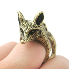 Large Fox Shaped Armor Joint Knuckle Animal Ring in Brass | Size 5 to 9 $12.50 #fox #animals #jewelry #rings #sly #cute