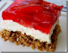 One of my most favorite desserts of all time. Love the combination of crushed pretzels with melted butter, topped with cream cheese, mixed with sugar and then frozen strawberries mixed in jello. Absolutely fabulous combination.